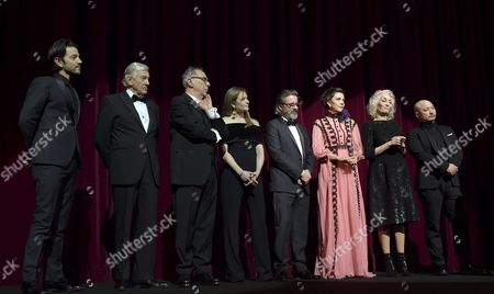 Festival Jury members (L-R) Diego Luna, Paul Verhoeven, Festival director Dieter Kosslick, Julia Jentsch, Olafur Eliasson, Maggie Gyllenhaal, Dora Bouchoucha Fourati and Wang Quan An attend the opening ceremony of the 67th annual Berlin Film Festival and the premiere of 'Django', in Berlin, Germany, 09 February 2017. Presented in the official competition, the movie opens the Berlinale festival which runs from 09 to 19 February.