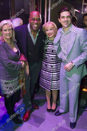 Stock Photo of Claire Fellows, Ainsley Harriott, Lorna Want (Cynthia Weil) and Ian McIntosh (Barry Mann) backstage