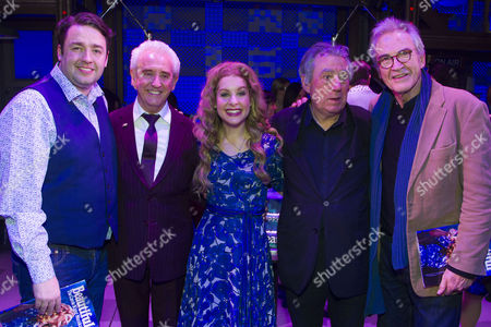 Jason Manford, Tony Christie, Cassidy Janson (Carole King), Terry Jones and Larry Lamb backstage