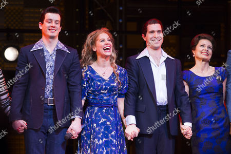 Matthew Seadon-Young (Gerry Goffin), Cassidy Janson (Carole King), Joseph Prouse (Don Kirshner) and Barbara Drennan (Genie Klein) during the curtain call