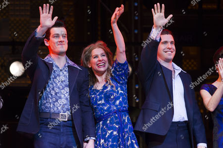Stock Picture of Matthew Seadon-Young (Gerry Goffin), Cassidy Janson (Carole King) and Joseph Prouse (Don Kirshner) during the curtain call