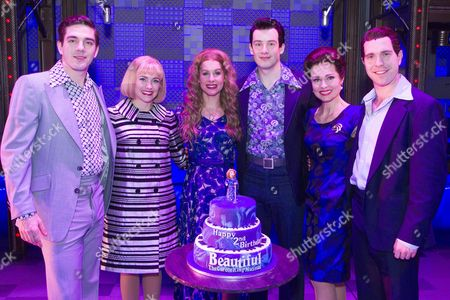 Ian McIntosh (Barry Mann), Lorna Want (Cynthia Weil), Cassidy Janson (Carole King), Matthew Seadon-Young (Gerry Goffin), Barbara Drennan (Genie Klein) and Joseph Prouse (Don Kirshner) backstage