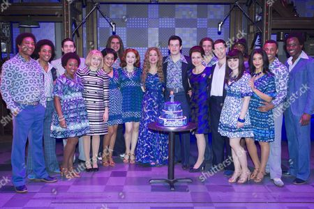 Stock Image of Ian McIntosh (Barry Mann), Lorna Want (Cynthia Weil), Cassidy Janson (Carole King), Matthew Seadon-Young (Gerry Goffin), Barbara Drennan (Genie Klein), Joseph Prouse (Don Kirshner) and members of the cast backstage