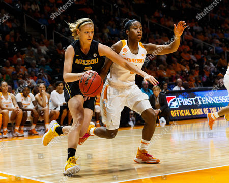 Sophie Cunningham #3 of the Missouri Tigers drives to the basket against Jordan Reynolds #0 of the Tennessee Lady Volunteers during the NCAA basketball game between the University of Tennessee Lady Volunteers and the University of Missouri Tigers at Thompson Boling Arena in Knoxville TN Tim Gangloff/CSM