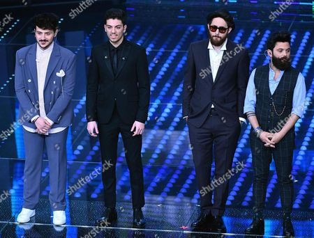 (L-R) Italian singers Leonardo Lamacchia, Lele, Maldestro and Francesco Guasti on stage during the 67th Festival of the Italian Song of San Remo at the Ariston theater, in Sanremo, Italy, 10 February 2017. The 67th edition of the television song contest runs from 07 to 11 February.