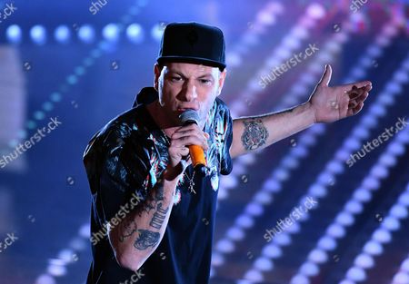 Italian singer Clementino perfoms on stage during the 67th Festival of the Italian Song of Sanremo at the Ariston theater in Sanremo, Italy, 10 February 2017. The 67th edition of the television song contest runs from 07 to 11 February.