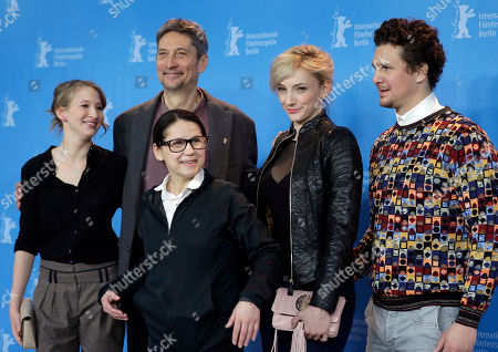 Director Ildiko Enyedi, front, and from left the actors Reka Tenki, Geza Morcsanyi, Alexandra Borbely and Ervin Nagy pose for the photographers during a photo call for the film 'On Body and Soul' at the 2017 Berlinale Film Festival in Berlin, Germany