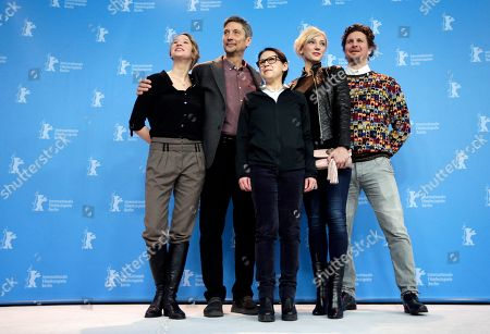 From left the actors Reka Tenki, and Geza Morcsanyi, director Ildiko Enyedi and the actors Alexandra Borbely and Ervin Nagy pose for the photographers during a photo call for the film 'On Body and Soul' at the 2017 Berlinale Film Festival in Berlin, Germany