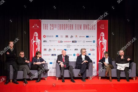 Deputy Chairman of the European Film Academy Mike Downey (2-l) President of the European Film Academy Wim Wenders (3-r) Managing Director of Efa Productions Marion Doering (2-r) Chairman of the New Horizons Association and Curator of the European Capital of Culture Regarding Film Roman Gutek (r) Director of the Polish Film Intitute Magdalena Sroka (3-r) President of the City of Wroclaw Rafal Dutkiewicz (c) and the Host of European Film Awards Gala Polish Actor Maciej Stuhr (l) During the Press Conference on the 29th European Film Awards in Wroclaw Poland 09 December 2016 the Conference Organized by the Foundation For Legal Culture Takes Place the Day Before the European Film Awards Gala Poland Wroclaw