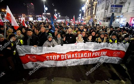 Former Polish Pm Ewa Kopacz (4-r) the Committee For the Defence of Democracy (kod) Leader Mateusz Kijowski (6-r) and Leader of Polish Nowoczesna Party Ryszard Petru (3-l) with Other Demonstrators Take Part in the 'Stop Devastation of Poland' March Organized by the Committee For the Defence of Democracy (kod) on the 35th Anniversary of the Introduction of Martial Law in Poland in Warsaw Poland 13 December 2016 the March is Organized to Protest Against the Polish Government of Law and Justice Party (pis) the Symbolic Date of the 13th of December Relates to the Introduction of the Martial Law in Poland in 1981 As the Organizers Say: the Fight to Preserve the Democratic State of Law is a Tribute to the Victims of the Martial Law Poland Warsaw