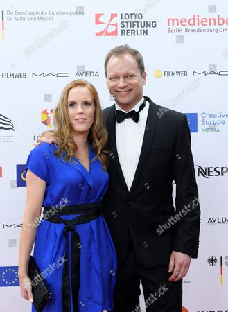 Polish Actor and Host of the 29th European Film Awards Gala Maciej Stuhr (r) Poses with Partner Katarzyna Blazejewska (l) on the Red Carpet at the European Film Awards in Wroclaw Poland 10 December 2016 the Awards Are Presented Annually by the European Film Academy to Recognize Excellence in European Cinematic Achievements Poland Wroclaw