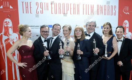 The Creators of the European Film of the Year 'Toni Erdmann' (l-r): Actress Hadewych Minis Producers: Michel Merkt and Jonas Dornbach Actress Sandra Hueller Director Maren Ade Actor Peter Simonischek Producer Janine Jackowski and Actor Trystan Puetter Pose After the 29th European Film Awards Ceremony in Wroclaw Poland 10 December 2016 the Awards Are Presented Annually by the European Film Academy to Recognize Excellence in European Cinema Poland Wroclaw