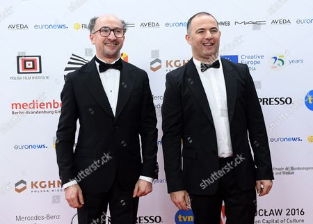Stock Image of The Creators of the Film 'La Vache': French Screenwriter Fatsah Bouyahmed (l) and French Director Mohamed Hamidi (r) Arrive on the Red Carpet at the European Film Awards in Wroclaw Poland 10 December 2016 the Awards Are Presented Annually by the European Film Academy to Recognize Excellence in European Cinema Poland Wroclaw