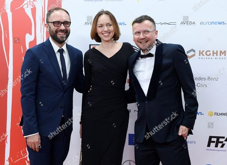 Stock Photo of The Creators of the Film '21 X New York' (l-r): Producers Mariusz Wlodarski and Agnieszka Wasiak and the Director Piotr Stasik Arrive on the Red Carpet at the European Film Awards in Wroclaw Poland 10 December 2016 the Awards Are Presented Annually by the European Film Academy to Recognize Excellence in European Cinematic Achievements Poland Wroclaw