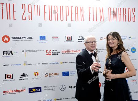 Stock Image of Janus Billeskov Jansen (l) and Anne Osterud (r) who Were Honored with the Award As European Editor 2016 For the Film 'Commune' During the 29th European Film Awards Ceremony in Wroclaw Poland 10 December 2016 the Awards Are Presented Annually by the European Film Academy to Recognize Excellence in European Cinema Poland Wroclaw