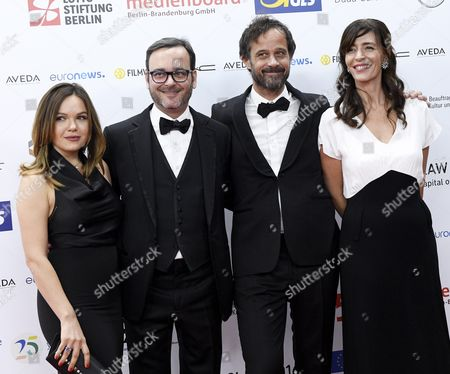 The Creators of the French-swiss Film 'My Life As a Zucchini' (l-r): Producers Kate Merkt and Michel Merkt Director Claude Barras and Producer Pauline Gygax Arrive on the Red Carpet at the European Film Awards in Wroclaw Poland 10 December 2016 the Awards Are Presented Annually by the European Film Academy to Recognize Excellence in European Cinema Poland Wroclaw