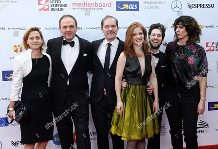 Stock Image of The Creators of the German Movie 'Liebmann' (l-r): Producer Ester Roswitha Producer Torsten Reglin Actors Godehard Giese Adeline Moreau and Fabien Ara and Director Jules Herrmann Arrive on the Red Carpet at the European Film Awards in Wroclaw Poland 10 December 2016 the Awards Are Presented Annually by the European Film Academy to Recognize Excellence in European Cinematic Achievements Poland Wroclaw