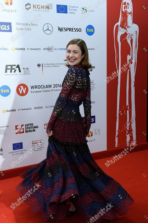 Lithuanian Actress Aiste Dirziute Arrives on the Red Carpet at the European Film Awards in Wroclaw Poland 10 December 2016 the Awards Are Presented Annually by the European Film Academy to Recognize Excellence in European Cinematic Achievements Poland Wroclaw