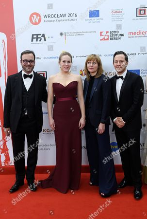 The Creators of the Film 'Toni Erdmann' (l-r): Producer Michel Merkt Actress Hadewych Minis Director Maren Ade and Actor Trystan Puetter Arrive on the Red Carpet at the European Film Awards in Wroclaw Poland 10 December 2016 the Awards Are Presented Annually by the European Film Academy to Recognize Excellence in European Cinema Poland Wroclaw