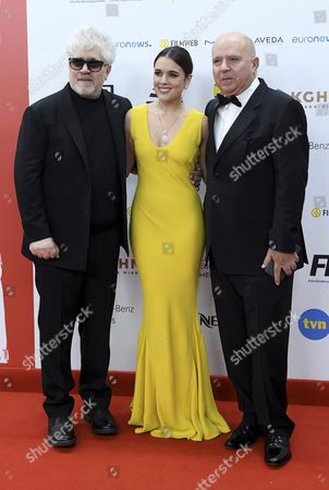 Spanish Director Pedro Almodovar (l) Spanish Actress Adriana Ugarte (c) and Producer Agustin Almodovar (r) Arrive on the Red Carpet at the European Film Awards in Wroclaw Poland 10 December 2016 the Awards Are Presented Annually by the European Film Academy to Recognize Excellence in European Cinema Poland Wroclaw