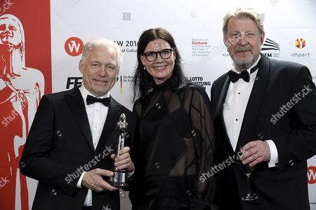 The Creators of the Film 'A Man Called Ove' (l-r) Director Hannes Holm Producer Annica Bellander Rune and Actor Rolf Lassgard with the Award For Best European Comedy After the 29th European Film Awards Ceremony in Wroclaw Poland 10 December 2016 the Awards Are Presented Annually by the European Film Academy to Recognize Excellence in European Cinema Poland Wroclaw