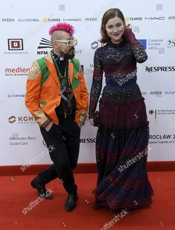 Lithuanian Actress Aiste Dirziute (r) and an Unidentified Person Arrive on the Red Carpet at the European Film Awards in Wroclaw Poland 10 December 2016 the Awards Are Presented Annually by the European Film Academy to Recognize Excellence in European Cinematic Achievements Poland Wroclaw