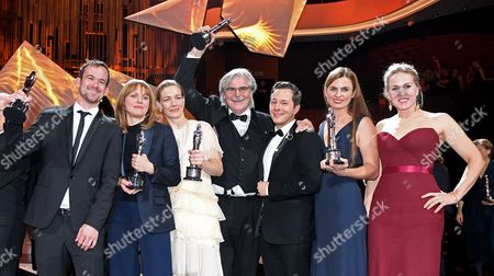 The Creators of the European Film of the Year 'Toni Erdmann' (l-r): Producer Jonas Dornbach Director Maren Ade Actress Sandra Hueller Actor Peter Simonischek Actor Trystan Puetter Producer Janine Jackowski and Actress Hadewych Minis During the 29th European Film Awards Ceremony in Wroclaw Poland 10 December 2016 the Awards Are Presented Annually by the European Film Academy to Recognize Excellence in European Cinema Poland Wroclaw