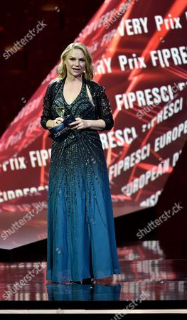 Stock Photo of Swedish Actress Malin Levanon on Stage During the 29th European Film Awards Ceremony in Wroclaw Poland 10 December 2016 the Awards Are Presented Annually by the European Film Academy to Recognize Excellence in European Cinema Poland Wroclaw
