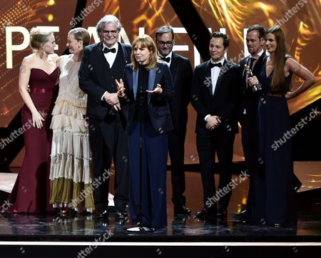 The Creators of the European Film of the Year 'Toni Erdmann' (l-r): Actress Hadewych Minis Sandra Hueller Actor Peter Simonischek Director Maren Ade Producer Michel Merkt Actor Trystan Puetter and Producers Jonas Dornbach and Janine Jackowski During the 29th European Film Awards Ceremony in Wroclaw Poland 10 December 2016 the Awards Are Presented Annually by the European Film Academy to Recognize Excellence in European Cinema Poland Wroclaw