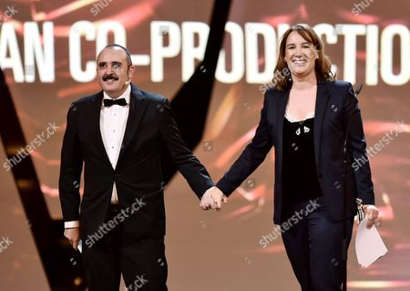 Stock Image of Spanish Actor Carlos Areces (l) Presents European Co-production Award Prix Eurimages Award to Dutch Producer Leontine Petit (r) During the 29th European Film Awards Ceremony in Wroclaw Poland 10 December 2016 the Awards Are Presented Annually by the European Film Academy to Recognize Excellence in European Cinema Poland Wroclaw