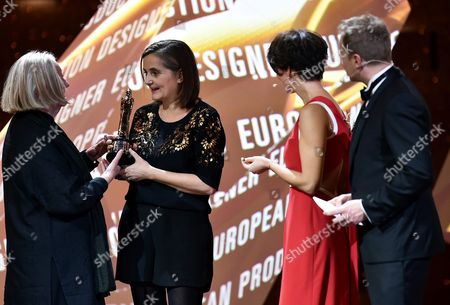 Polish Actor and the Host of the European Film Awards Gala Maciej Stuhr (r) with Polish Actress Maja Ostaszewska (2-r) and Production Designer Alice Normington (2-l) During the 29th European Film Awards Ceremony in Wroclaw Poland 10 December 2016 the Awards Are Presented Annually by the European Film Academy to Recognize Excellence in European Cinema Poland Wroclaw