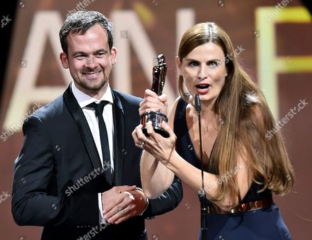 Producers of the European Film of the Year 'Toni Erdmann': Jonas Dornbach (l) and Janine Jackowski (r) on Stage During the 29th European Film Awards Ceremony in Wroclaw Poland 10 December 2016 the Awards Are Presented Annually by the European Film Academy to Recognize Excellence in European Cinema Poland Wroclaw