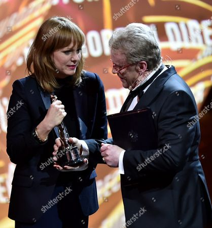 Polish Actor Daniel Olbrychski (r) Presents the European Director 2016 Award to German Director Maren Ade (l) During the 29th European Film Awards Ceremony in Wroclaw Poland 10 December 2016 the Awards Are Presented Annually by the European Film Academy to Recognize Excellence in European Cinema Poland Wroclaw