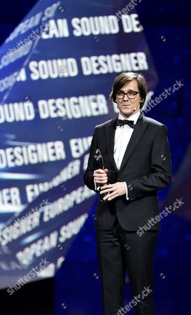 Stock Image of Polish Sound Designer Radoslaw Ochnio Poses For Photos with His European Sound Designer 2016 Award For the Film '11 Minutes' During the 29th European Film Awards Ceremony in Wroclaw Poland 10 December 2016 the Awards Are Presented Annually by the European Film Academy to Recognize Excellence in European Cinema Poland Wroclaw