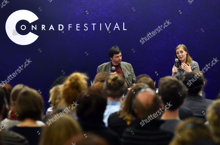 Canadian-born New Zealand Author Eleanor Catton (r) and Polish Writer and Interpreter Maciej Swierkocki (l) Attend a Meeting with Readers at the 8th Conrad Festival in Cracow Poland 29 October 2016 (issued 30 October) the Leading Motif of This Year's Edition of the Literary Festival is 'Intensity Understood Both As Passion and Unwavering Commitment to the Common Matter of Culture ' Poland Cracow