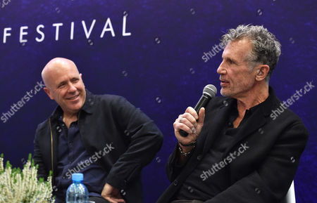 Stock Image of Australian Novelist Richard Flanagan (l) and Us Writer Michael Cunningham (r) Attend a Meeting with Readers at the 8th Conrad Festival in Cracow Poland 29 October 2016 (issued 30 October) the Leading Motif of This Year's Edition of the Literary Festival is 'Intensity Understood Both As Passion and Unwavering Commitment to the Common Matter of Culture ' Poland Cracow