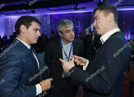 Stock Photo of Spanish Citizens Party Leader Albert Rivera (l) Spanish Citizens Party Member Luis Garicano (c) and Former Estonian Prime Minister Taavi Roivas (r) Attend For the Alde Party Congress in Warsaw Poland 02 December 2016 the European Liberal Congress in Warsaw Runs From 01 to 03 December Poland Warsaw