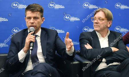 The Leader of the Alde Group in the European Parliament Guy Verhofstadt (r) and Polish Nowoczesna Party Leader Ryszard Petru (l) at a Press Conference After the Alde Party Congress in Warsaw Poland 02 December 2016 the European Liberal Congress in Warsaw Runs From 01 to 03 December Poland Warsaw