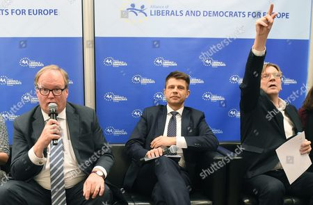 The Leader of the Alde Group in the European Parliament Guy Verhofstadt (r) Polish Nowoczesna Party Leader Ryszard Petru (c) and the Alde Party Leader Hans Van Baalen (l) at a Press Conference After the Alde Party Congress in Warsaw Poland 02 December 2016 the European Liberal Congress in Warsaw Runs From 01 to 03 December Poland Warsaw