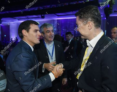 Spanish Citizens Party Leader Albert Rivera (l) Spanish Citizens Party Member Luis Garicano (c) and Former Estonian Prime Minister Taavi Roivas (r) Attend For the Alde Party Congress in Warsaw Poland 02 December 2016 the European Liberal Congress in Warsaw Runs From 01 to 03 December Poland Warsaw