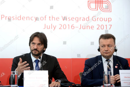 Polish Minister of Internal Affairs and Administration Mariusz Blaszczak (r) and Minister of Internal Affairs of Slovakia Robert Kalinak (l) During the Press Conference After the Visegrad Group Interior Ministers Meeting in Warsaw Poland 21 November 2016 the Meeting was on the New Solutions to the Migration Crisis in Europe Poland Warsaw