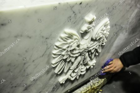 A Close-up of the Polish Coat of on the New Sarcophagus of the Presidential Couple Lech Kaczynski and Maria Kaczynska in Slopsk Central Poland 17 November 2016 Sarcophagus of the Presidential Couple Must Be Replaced After the Exhumation Which was Conducted on 14 November 2016 the Design of the Previous Sarcophagus Did not Provide a Multiple Opening the New Sarcophagus is Made of Carrara Marble-white with Delicate Veins Polish Emblem the Cross and the Dates of Birth and Death of the Presidential Couple Will Be the New Elements That Will Appear on the Sarcophagus the Authors of the Project of the New Sarcophagus is Architect Marta Witoslawska and Warsaw Sculptor Marek Moderau Poland Slopsk