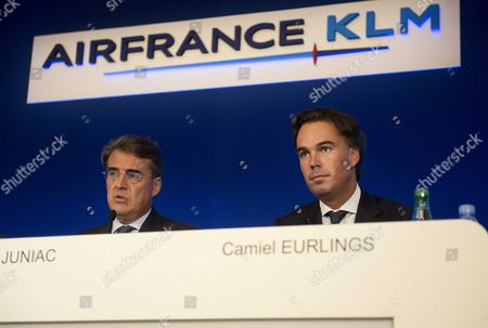 Ceo of Airline Company Air France-klm Alexandre De Juniac (l) and Klm Ceo Camiel Eurlings (r) Attend a Press Conference About the Group's Half Year Results in Paris France 25 July 2014 the Ceo's Stated That the Group Has Lowered Its Loss in the First Half of 2014 France Paris
