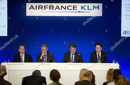 (l-r) Cfo Klm Air France Pierre-francois Riolacci French Airline Company Air France's Ceo Frederic Gagey Ceo of Airline Company Air France-klm Alexandre De Juniac and Klm Ceo Camiel Eurlings Attend a Press Conference About the Group's Half Year Results in Paris France 25 July 2014 the Ceo's Stated That the Group Has Lowered Its Loss in the First Half of 2014 France Paris