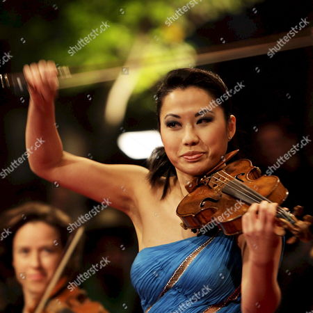 Us Born of Korean Heritage Violinist Sarah Chang Performs at the 'Canal Concert' Held on the Canals of Amsterdam and Attended by People in Hundreds of Small Boats in Amsterdam the Netherlands on 23 August 2008 Netherlands Amsterdam