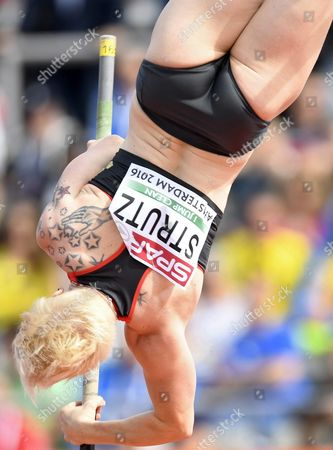 Stock Image of Martina Strutz From Germany Action During the Pole Vault Qualifying at the European Athletics Championships at the Olympic Stadium in Amsterdam the Netherlands 07 July 2016 Netherlands Amsterdam