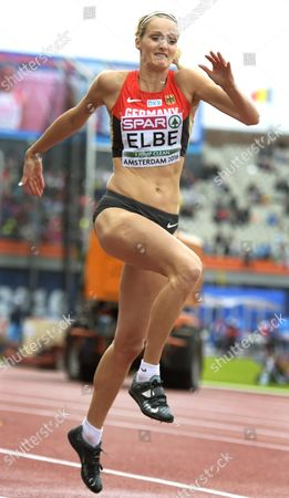 Stock Photo of Jenny Elbe of Germany in Action During the Women's Triple Jump Qualifying Rounds at the European Athletics Championships in the Olympic Stadium Amsterdam the Netherlands 08 July 2016 Netherlands Amsterdam