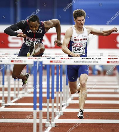 (l-r) Dimitri Bascou France and Lawrence Clarke From Great Britain During the Semifinal 110m Hurdles Men of the European Athletics Championships at the Olympic Stadium in Amsterdam Netherlands 09 July 2016 Netherlands Amsterdam