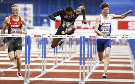 Stock Picture of (l-r) Gregor Traber From Germany Dimitri Bascou France and Lawrence Clarke From Great Britain During the Semifinal 110m Hurdles Men of the European Athletics Championships at the Olympic Stadium in Amsterdam Netherlands 09 July 2016 Netherlands Amsterdam