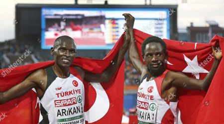 Polat Kemboi Arikan (l) and Ali Kaya From Turkey React After the Men's 10000 M Race at the European Athletics Championships in the Olympic Stadium Amsterdam the Netherlands 08 July 2016 Netherlands Amsterdam